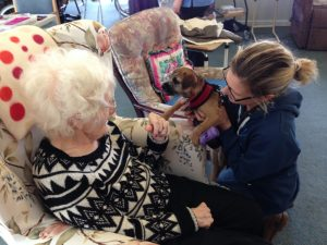 Ann has some pet therapy time with Peggy